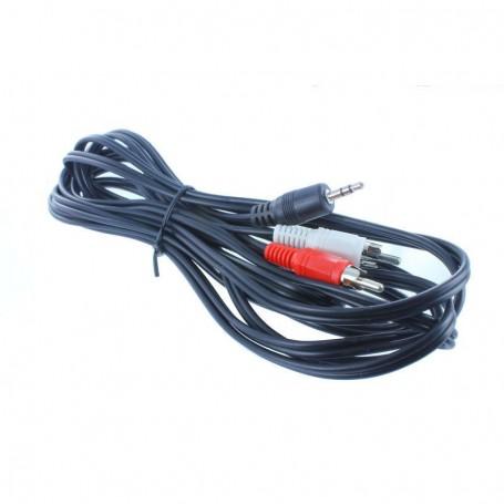 Câble 1 Prise Jack 3.5mm Mâle 2 Prises RCA Males 15FT