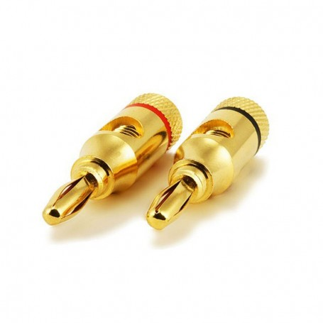Pair of High-Quality Copper Speaker Banana Plugs Open Screw Type
