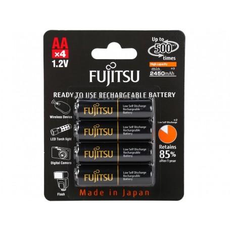 Fujitsu AA 2550mAh 500 Cycles High Capacity Ni-MH Pre-Charged Rechargeable Batteries 4 Pack